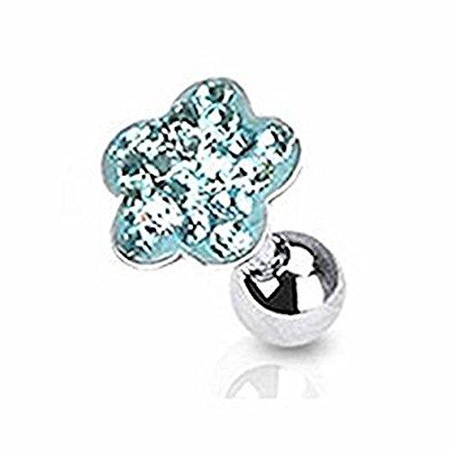 Blume Kostüme Hund Daisy (Aqua Kristall Cluster Daisy Blume Tragus oder Knorpel Piercing Dicke: 1.2mm Länge: 6mm Material:)