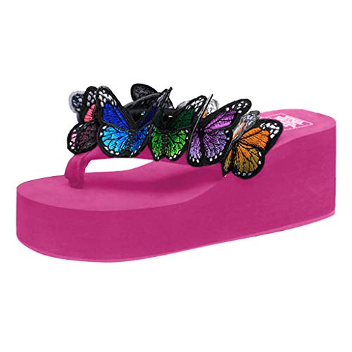 BHYDRY Mujeres Niñas Mariposa Cuñas Florales Chanclas