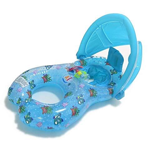 Baby Schwimmring Schwimmhilfe mit Sonnendach 0-24 Monate baby kinder Schwimmring Badewannensitz Dickere Modelle Mutter Baby Aufblasbare Schwimmring Float Baby Sitzringe Doppel Schwimmring (Blau)