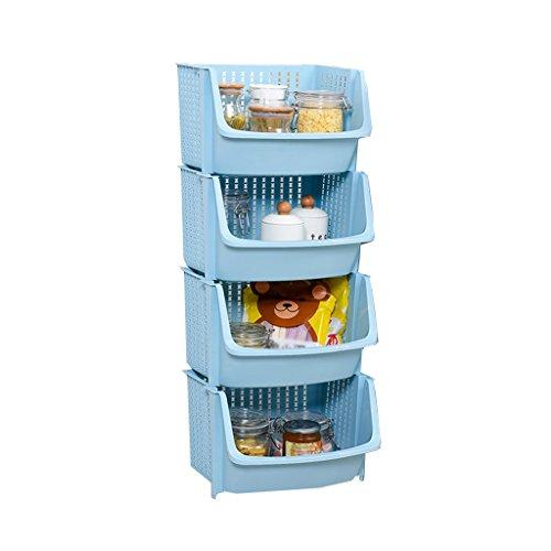 WSGZH Kunststoff Blauer Lagerregal Stapelbarer Korb mit 4 Ebenen Große offene quadratische Korb Collation Frame Bodenart Küche Abnehmbare Gemüseregale Badezimmer