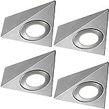 4x * 240V * Triangle LED Unter Schränke/Küche/Spots–gebürstetes Nickel und warm weiß–Oberfläche montiert Arbeitsplatte Zähler Licht–Beleuchtung Beam Kit