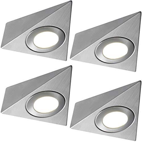 4x * 240V * Triangle LED Unter Schränke/Küche/Spots–gebürstetes Nickel und warm weiß–Oberfläche montiert Arbeitsplatte Zähler Licht–Beleuchtung Beam Kit - Zähler Küche Beleuchtung