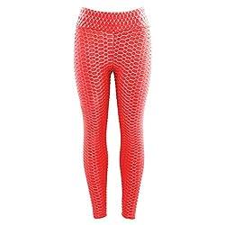 Damen Sport Leggins Blickdicht Sporthose Yogahose Streetwear (S,3Pink)