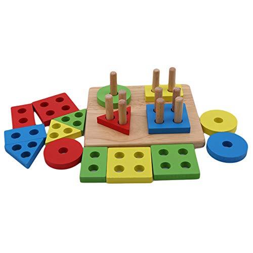 EJY Géométrique Forme Trier en Bois Jouet Éducatif Enfants Début Cognitif Puzzles Jouets