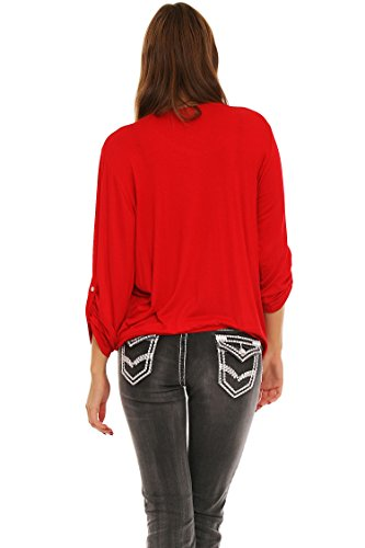 Moda Italy - Dames 2 en 1 Pullover manches longues Découpe cascade Tunika Rouge