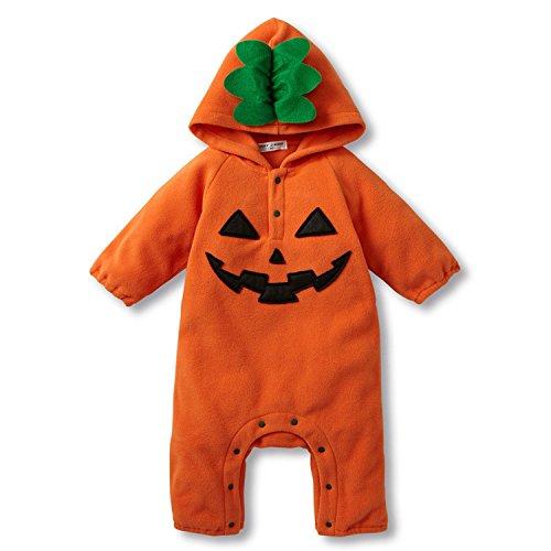 Baby Mädchen Jungen Halloween Kostüm Kürbis Fledermaus Overall Strampler mit Kapuze Jumpsuit Outifts (62-68 / 3-6 Monate (Herstellergröße: 70), (Junge Kostüme Monate Halloween 6 Baby 3)
