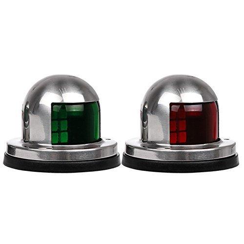 EgoEra® 12V Edelstahl Navigationslichter Boot LED Lichter, Boot LED Positionslicht / Navigationsleuchten / Steuerbord Lampe/ Kajak Licht, Ein Paar Rot & Grün licht (Led-licht-kajak)