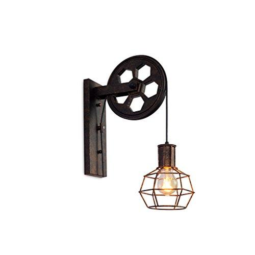 YCLED Lámpara de Pared Industrial Polea Retro E27 Vintage Polea Loft Bar Tienda Luz...