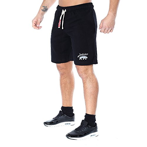 SMILODOX Shorts Herren | Kurze Hosen für Sport Fitness Gym Training & Freizeit | Jogginghose - Freizeithose - Trainingshose - Sweatpants Jogger - Sporthose Kurz, Farbe:Schwarz, Größe:M