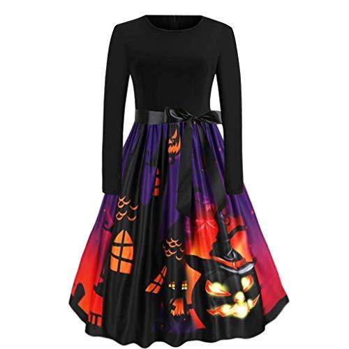Damen Halloween Kleider kostüm Freizeit kürbis Muster Mode oansatz Langarm Bogen reißverschluss Abend schaukel Kleid Prom Karneval Festival Cosplay Party Kleid Schwarz (Süße Katze Kostüm Für Teenager Mädchen)