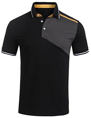 Burlady Polo Shirts Herren, Sommer Herren Mode Persönlichkeit Männer Casual Schlank Kurzarm Patchwork T-Shirt Top Bluse- Gr. M, Schwarz