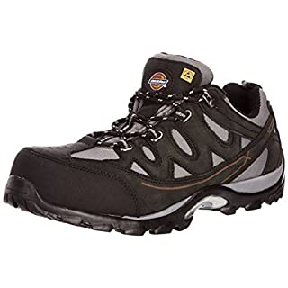 Mens Dickies Breathable Safety Lightweight Trainer Work Shoe Metal Free Non-metallic Composite Toecap Midsole Protection Comfortable Leather ALFORD Black FC9512 Size UK 10