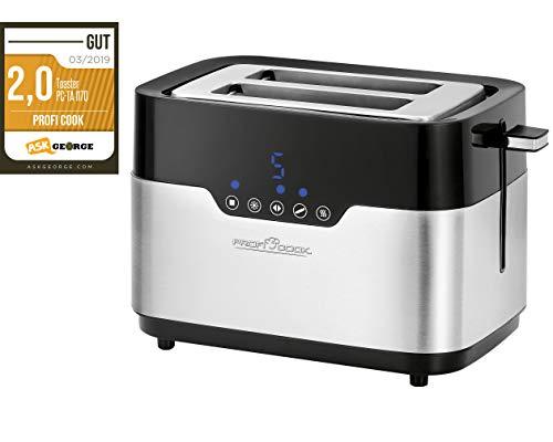 PROFI COOK PC-TA 1170 - Grille pain 2 tranches - 2 Fentes extra larges - Commande tactile - 920 Watts - Ramasse miettes - Couleur Argent et Noir