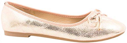 Elara Damen Ballerina | Hochwertige Glitzer Slipper | Flats Slip-Ons Pink Metallic