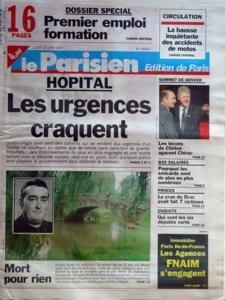 PARISIEN EDITION DE PARIS (LE) N? 16422 du 23-06-1997 hopital - les urgences craquent mort pour rien - roland tourat jete dans l'indre par 4 collegiens dans le parc bel-ile de chateauroux - qui sont les 6 deputes verts proces - la crue du drac avait fait 7 victimes - les bas salaires les lecons de clinton agacent chirac la hausse inquietante des accidents de mot