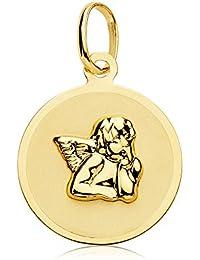 Medalla bebé ángel de la guarda redonda oro amarillo 18 ktes 15mm GRABADO INCLUIDO