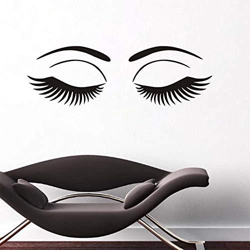 Abnehmbare Vinyl Wandaufkleber Schöne Wimpern Spa Salon Barbershop Decor Make-Up Salon Mädchen Große Augen Gesicht Kosmetische Wandtattoo 130X42CM