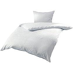 Mako Satin Bettwäsche blau weiß gestreift 155x220 + 80x80 cm, 100% Baumwolle mit Reißverschluss