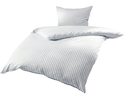 Mako Satin Bettwäsche blau weiß gestreift 135x200 + 80x80 cm, 100% Baumwolle mit Reißverschluss
