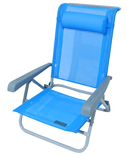Meerweh Strandstuhl mit Verstellbarer Rückenlehne und Kopfpolster Klappstuhl Anglerstuhl Campingstuhl Saphir/blau Armlehne grau