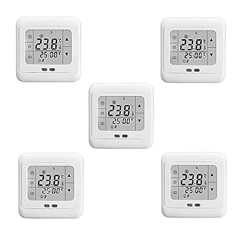 SAILUN 5 Stück / Set Raumthermostat Digital Thermostat Programmierung Raumthermostat Heizungs Raum Temperatur Regler mit LCD TouchScreen Weiß Für Wade, Fußbodenheizung, Die Heizung Wand, Elektrische Usw (5 Stück /