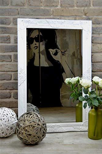Livitat® Wandspiegel Spiegel Badspiegel barock antik Weiß (90 x 60 cm)