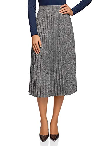 Oodji Collection Mujer Falda Plisada Cremallera, Gris