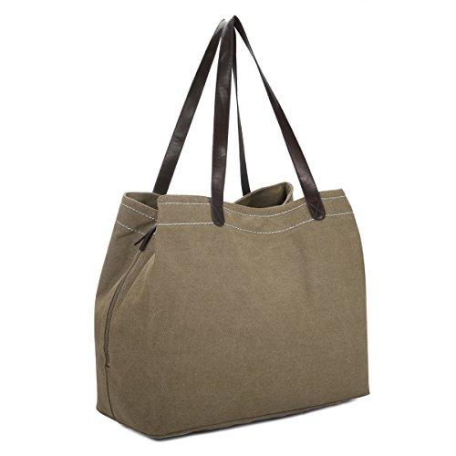 Damen Handtasche, Gracosy Canvas Umhängetasche Reise Shopper Tasche Segeltuch Henkeltasche mit Groß Kapazität für Shopping Büro Braun