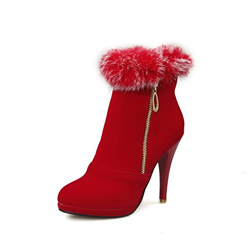 AllhqFashion Damen Rein Stiletto Rund Zehe Nubukleder Reißverschluss Stiefel Rot