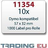10x Etiqueta compatible con Dymo 11354 57 x 32 mm 1000 etiquetas por rollo