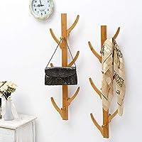 Rack Wall Hanging Coat Rack Solid Wood Hanger Wall Hook Bedroom Porch Rack Coat Hook Bamboo