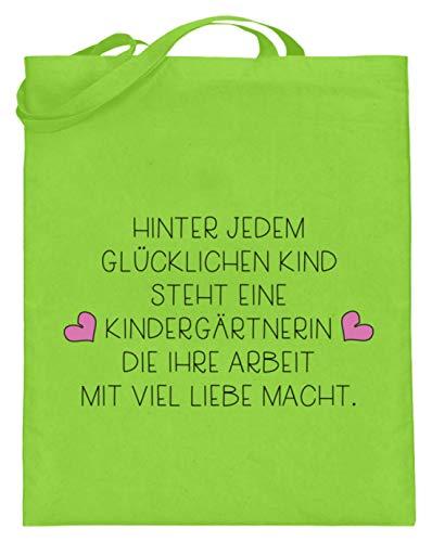 Tolles Kindergärtnerin Shirt & Erzieherin Shirt - Super Geschenkidee für den Kindergarten - Jutebeutel (mit langen Henkeln) -38cm-42cm-Limetten Grün -