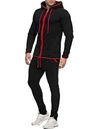 d62d449e9 Mens Tracksuit Set New Contrast Cord Fleece Hoodie Top Bottoms Jogging Zip  Joggers Gym Sport Sweat…