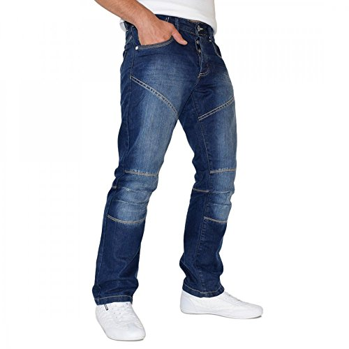 Men'Designer Smith and Jones Usario Jean Straight Leg Jeans Regular Fit - Mid Blue - Branded Usario Jeans Waist Trousers