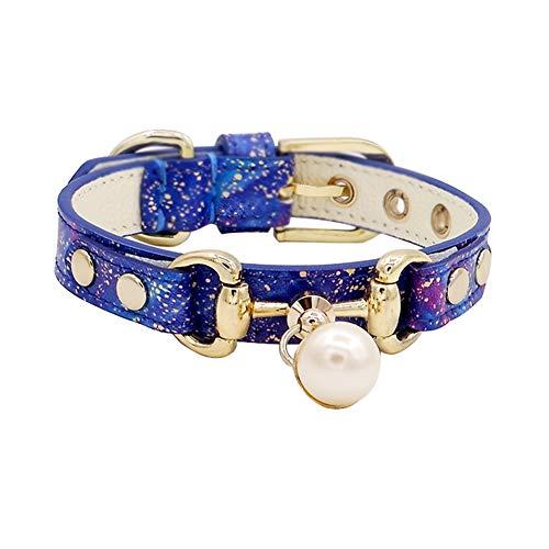 LANA Hundehalsband, Mode Bling mit Anhänger Puppy Cat Hundehalsband Polka Soft Echtes Leder in Blau für kleine Hunde oder mittelgroße Hunde (Size : L) -