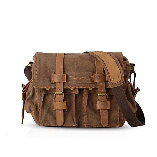 FANDARE Bolsa Mensajero Messenger Bag Crossbody Bolso Bandolera Shoulder Bag 14 Pulgadas Portátil Estudiante Viaje Trabajo Escuela Las Mujeres Hombre Bolso Lona Marrón