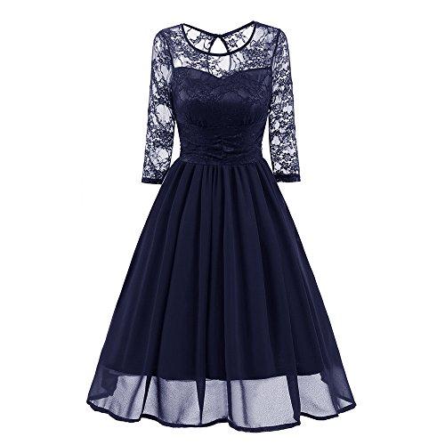 MAYOGO Kleid Damen Elegant Vintage 50er Spitze Kleid mit Tüll Langarm Cocktail Party Rockabill Kleider Abendkleid - Schlitzen Mit T-shirt-kleid