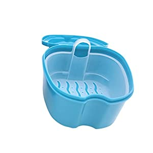 Rosenice Zahnersatzbehälter, kieferorthopädischer Zahnbehälter, Behälter für künstliche Zähne, hellblau