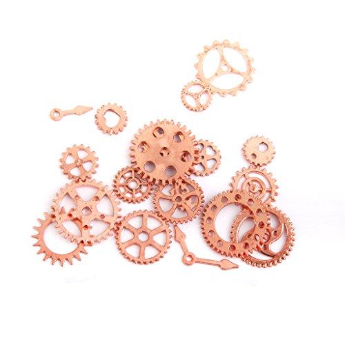 20pcs Reloj Colgante De Engranajes Resultados Pendientes Ruedas De Repuesto Encanto Rosa De Oro