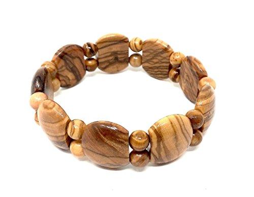 Armband aus echten Olivenholz - handgemacht - Holzschmuck - Gliederarmband mit kleinen Perlen - flexibel und dehnbar