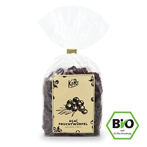 Acai Beeren Würfel Trockenfrüchte ● Superfood ● Schwefelfrei ● Ohne Zuckerzusatz ● 500 g Packung ● KoRo