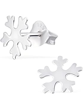JAYARE Kinder-Ohrstecker Schneeflocke 925 Sterling Silber 8 x 8 mm Ohrringe