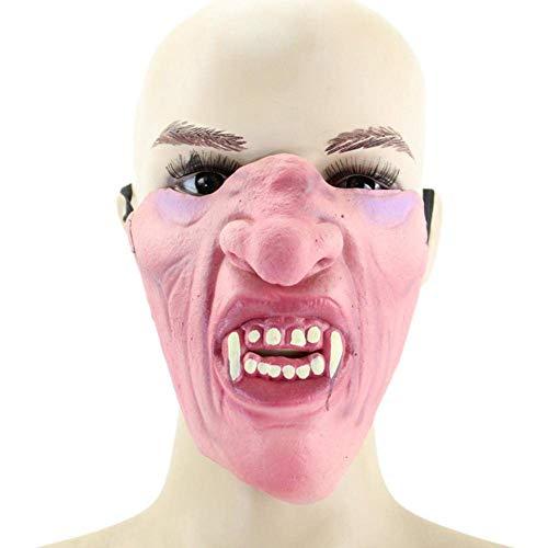Ficony Heikles Halloween Maske Halbe Gesichtsmaske Lustige Latexmaske Prom Performance Prop Heikles Maske für Halloween Maskerade Party 2 Stücke (B)