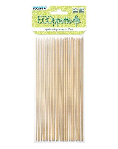 Girm® - s2991 - confezione da 40 pz, spiedini ecologici in bambù 20 cm - spiedini finger food legno 100 % biodegradabili ideali per buffet, stuzzichini, aperitivi, happy hour, party.