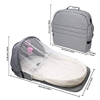 ZEHNHASE Cuna Nido Portátil, Cuna De Viaje Con Colchon, Nido para bebé para recién nacidos con diseño antivuelco, mosquitera y juguete incluidos - Gris