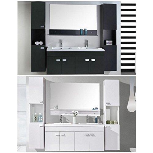 Mobile bagno lady nero o bianco doppio lavabo in ceramica cm 120 sospeso miscelatori e 2 colonne inclusi