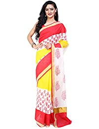 730ad76920 Tanya Red, Yellow and White Kerela Cotton Saree With Floral Print and Zari  Strip on