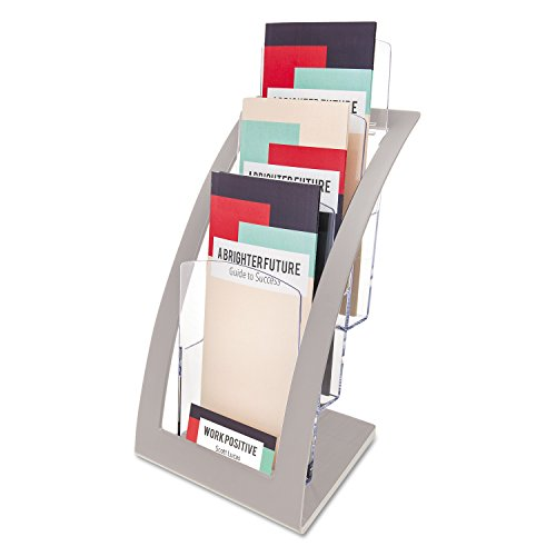 Deflect-o Leaflet Size Contemporary Literature Holder - Silver,33x15.5x17cm