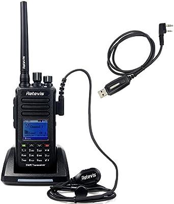 Retevis Walkie Talkie Digital RT8 Resistencia al Agua Impermeable IP67 GPS, Polvo y Caída DMR Digital/Analógico 5W UHF 400-480MHz 1000 Canales con LCD y Mensaje