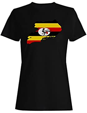 Nueva Uganda Bandera Mundo Mapa Arte camiseta de las mujeres i633f